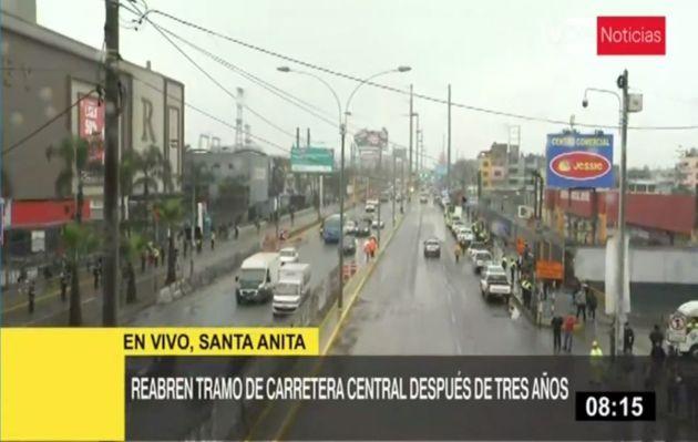 Reabren tramo cerrado de Carretera Central por obras de la Línea 2 del Metro de Lima