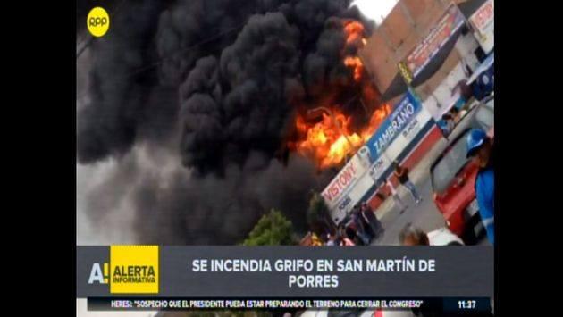 Se reporta incendio en taller cerca a grifo en San Martín de Porres