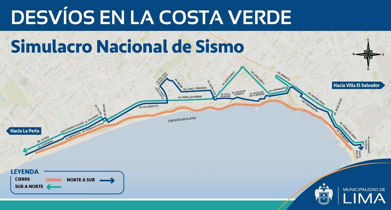Este es el plan de desvío vehicular establecido por la Municipalidad de Lima. (Difusión)