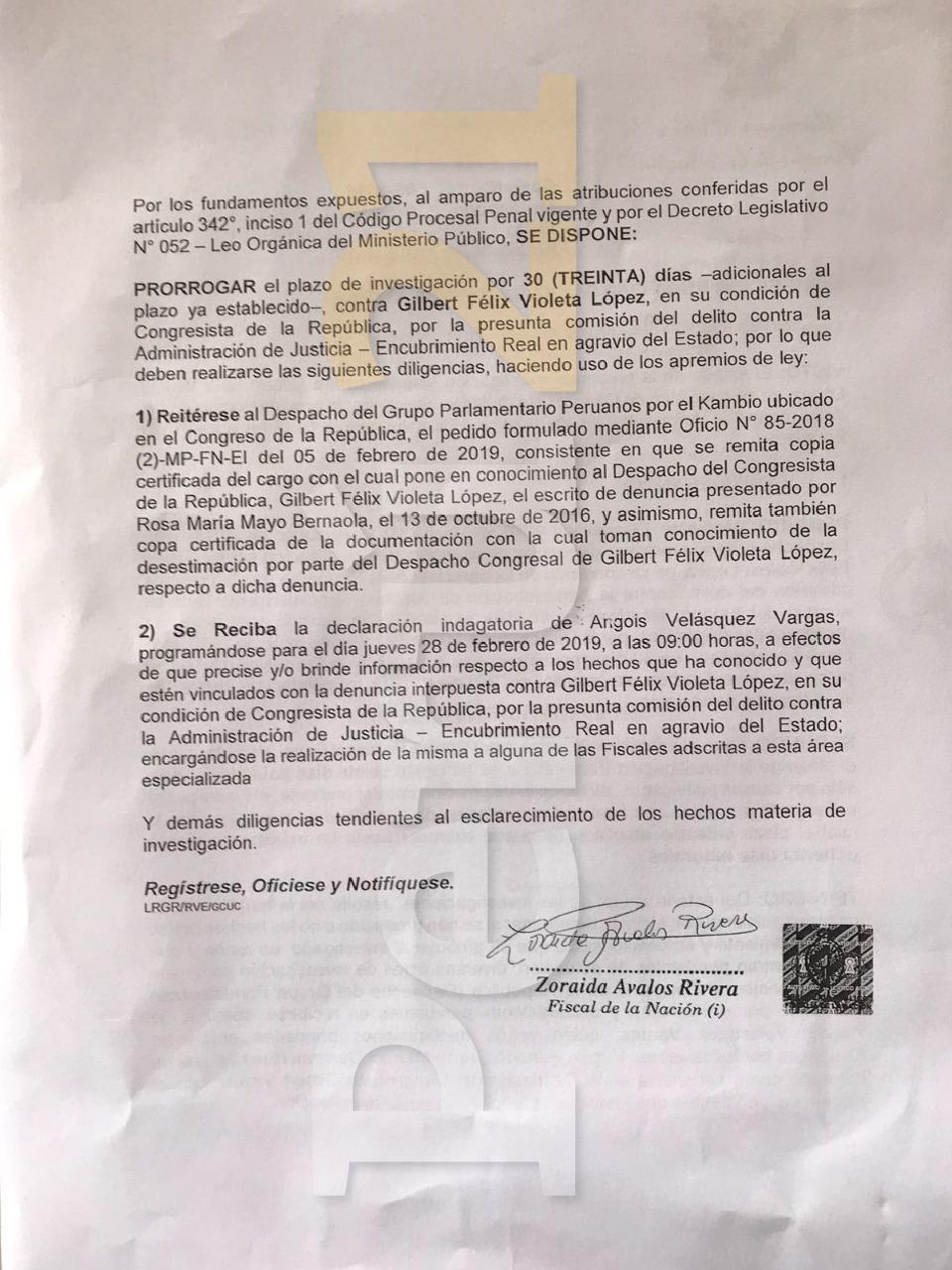 Documento de ampliación de investigación a Gilbert Violeta.