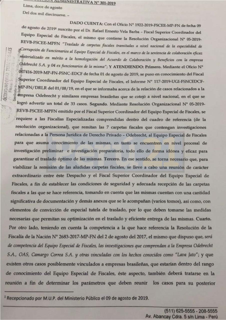 Documento enviado el 12 de agosto por el fiscal superior Omar Tello.