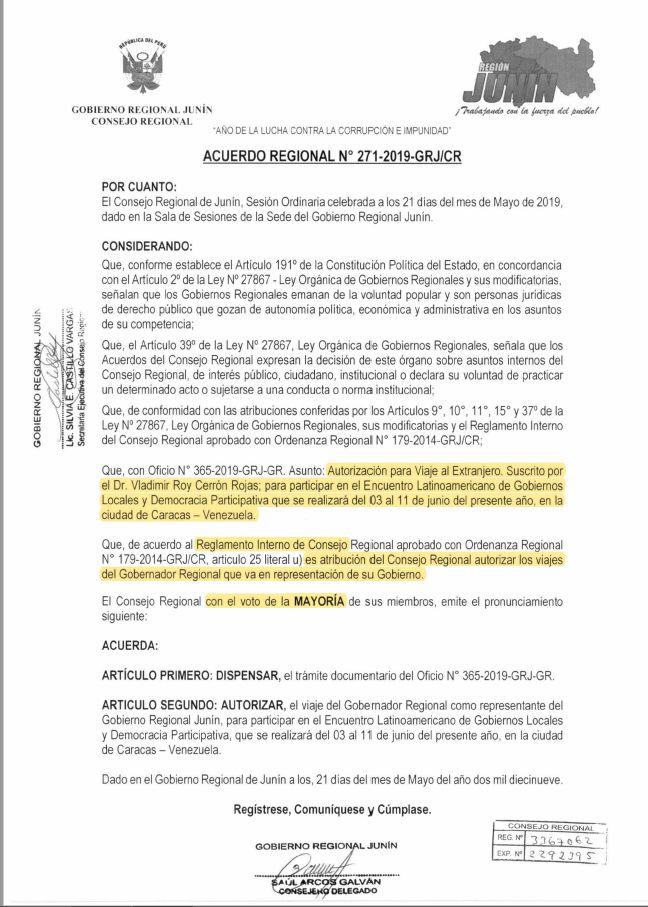 Acuerdo regional 271-2019-GRJ/CR del 21 de mayo (Gobierno regional de Junin).