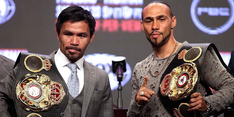 Pacquiao y Thurman antes de la gran pelea en Las Vegas por el título Peso Wélter. (AFP)