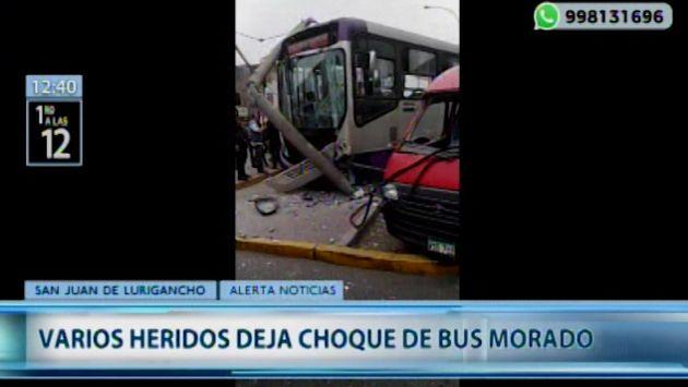 San Juan de Lurigancho: bus del corredor morado impacta contra combi en la Av. Wiesse  VIDEO