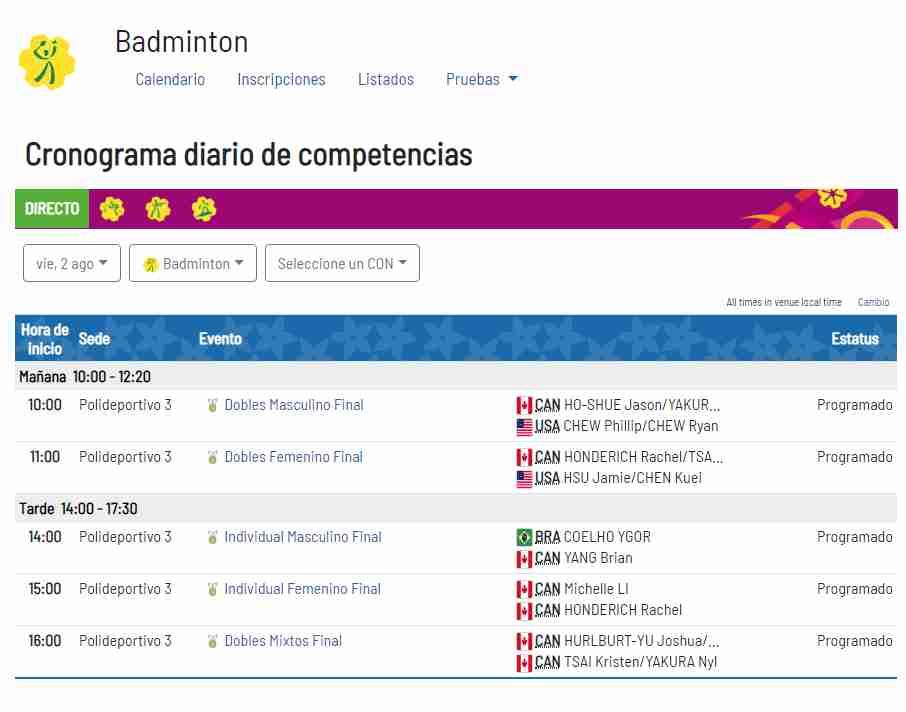 Juegos Panamericanos 2019 Calendario.Lima 2019 Calendario Del Dia 10 De Los Juegos Panamericanos