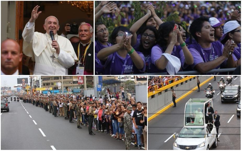 Papa Francisco desató algarabía de los fieles a su llegada a Nunciatura