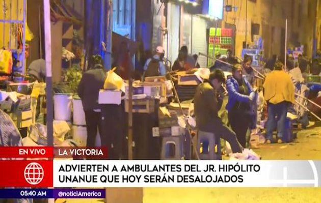 Advierten a ambulantes del jirón Hipólito Unanue que serán desalojados