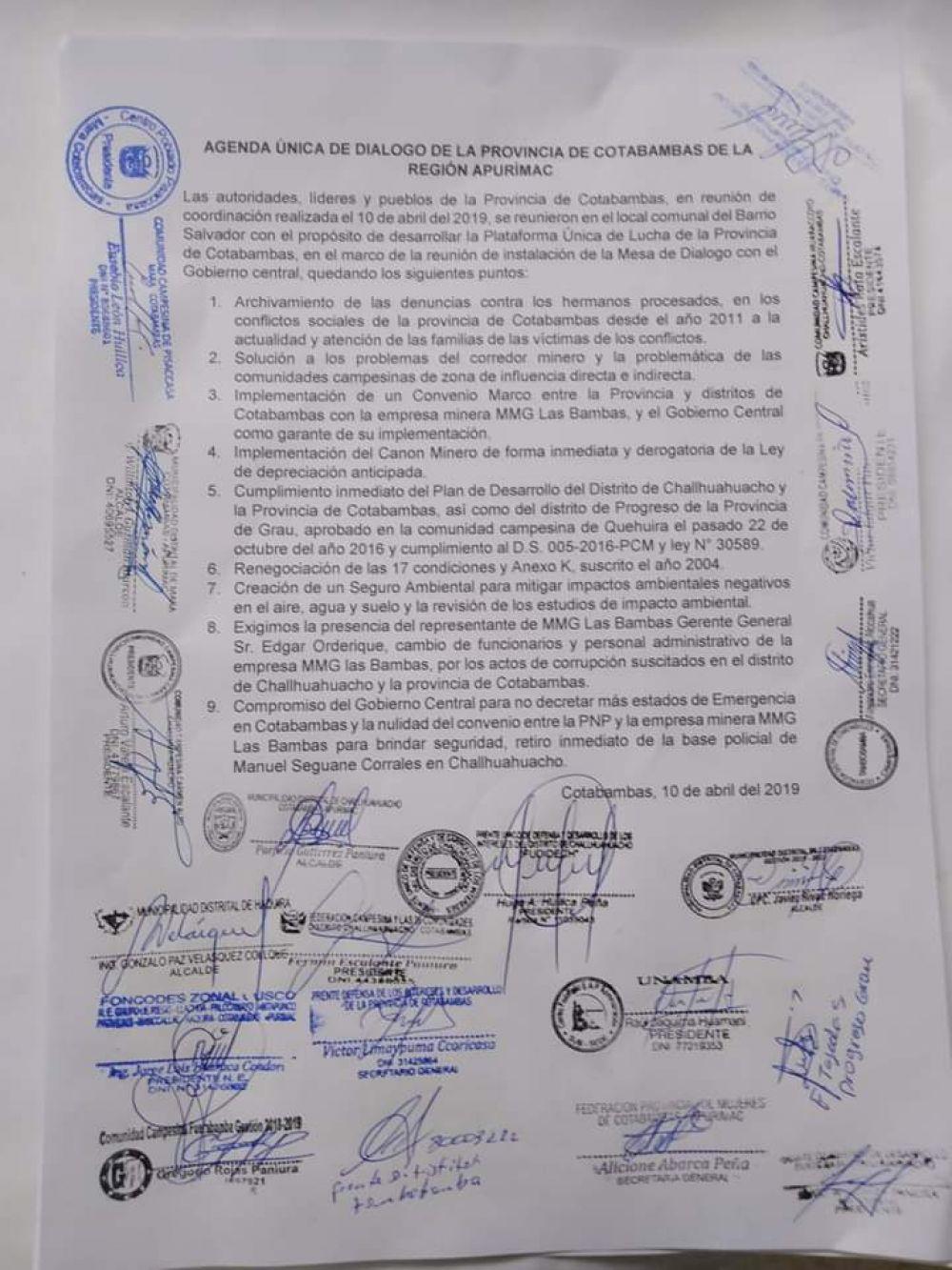Lista de pedidos de las comunidades de la provincia de Cotambambas.