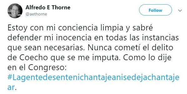 La respuesta de Alfredo Thorne en su Twitter.