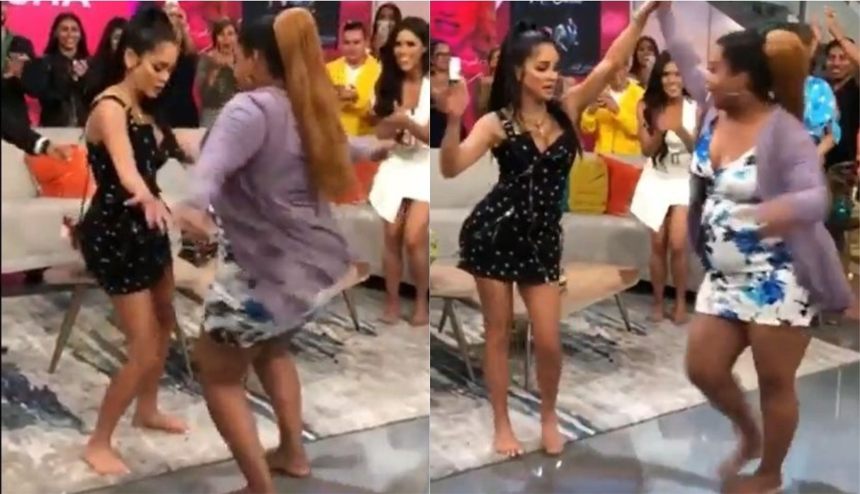 Natti Natasha se luce bailando merengue sin zapatos en programa en vivo | VIDEO