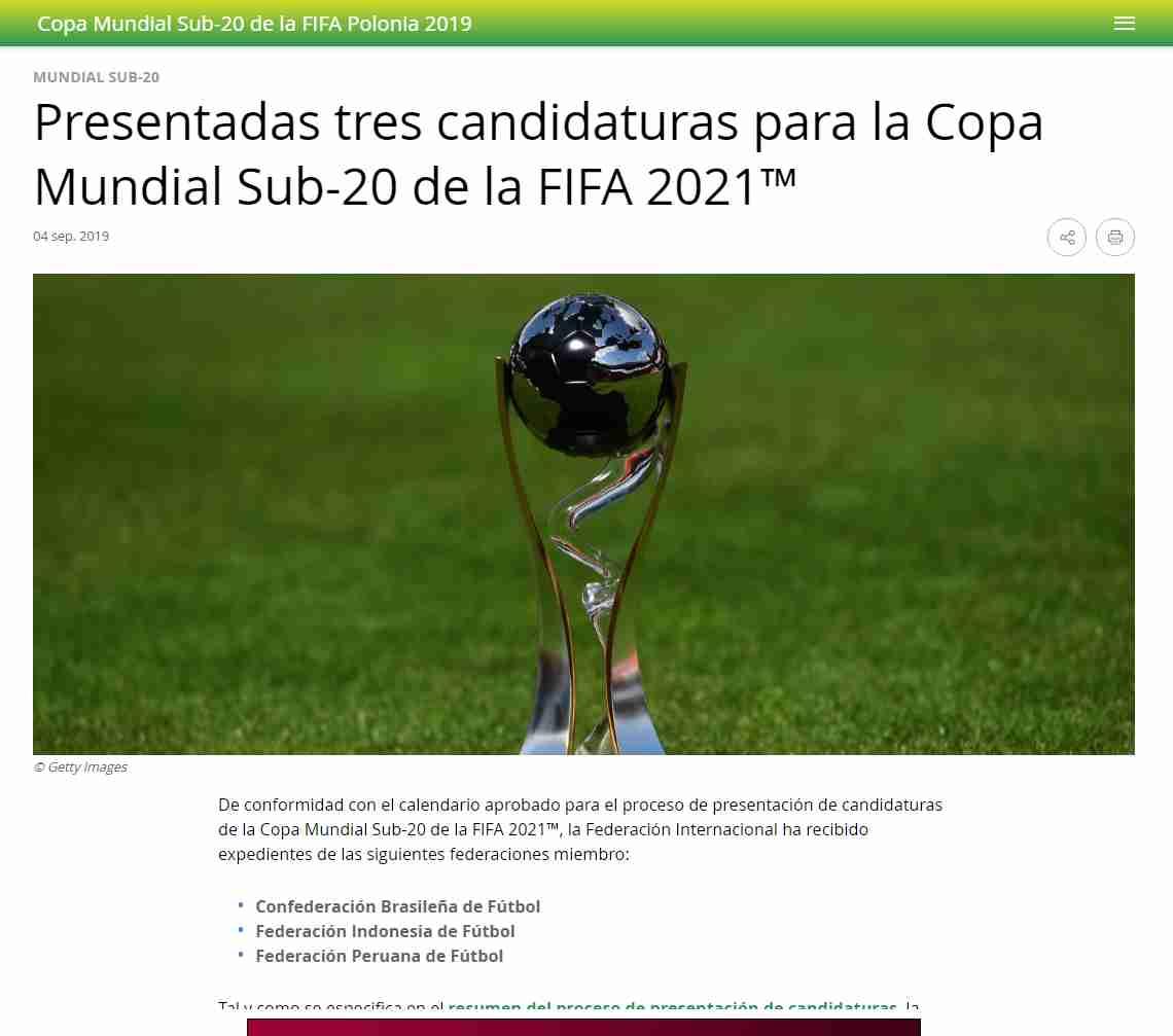Perú podría ser sede del próximo Mundial sub 20 de la FIFA.