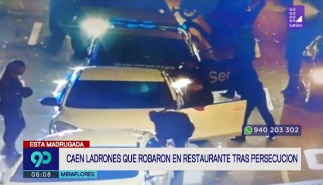 Miraflores: caen presuntos ladrones acusados de robo en restaurante tras intensa persecución