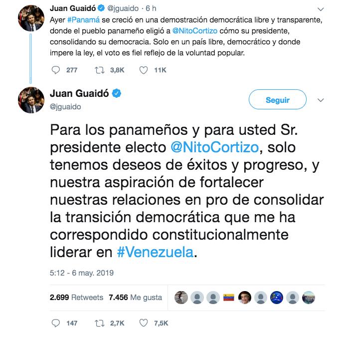 """""""Solo tenemos deseos de éxitos y progreso, y nuestra aspiración de fortalecer nuestras relaciones"""", comentó Guaidó. (Twitter)"""