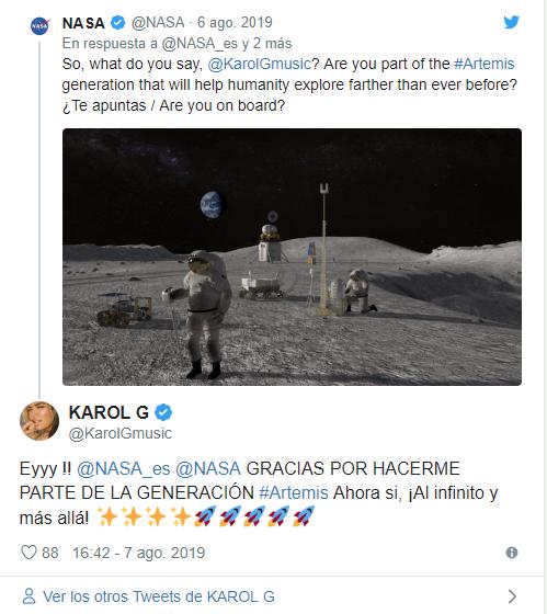 Karol G agradeció la invitación de la Nasa para ser parte del proyecto Artemis.