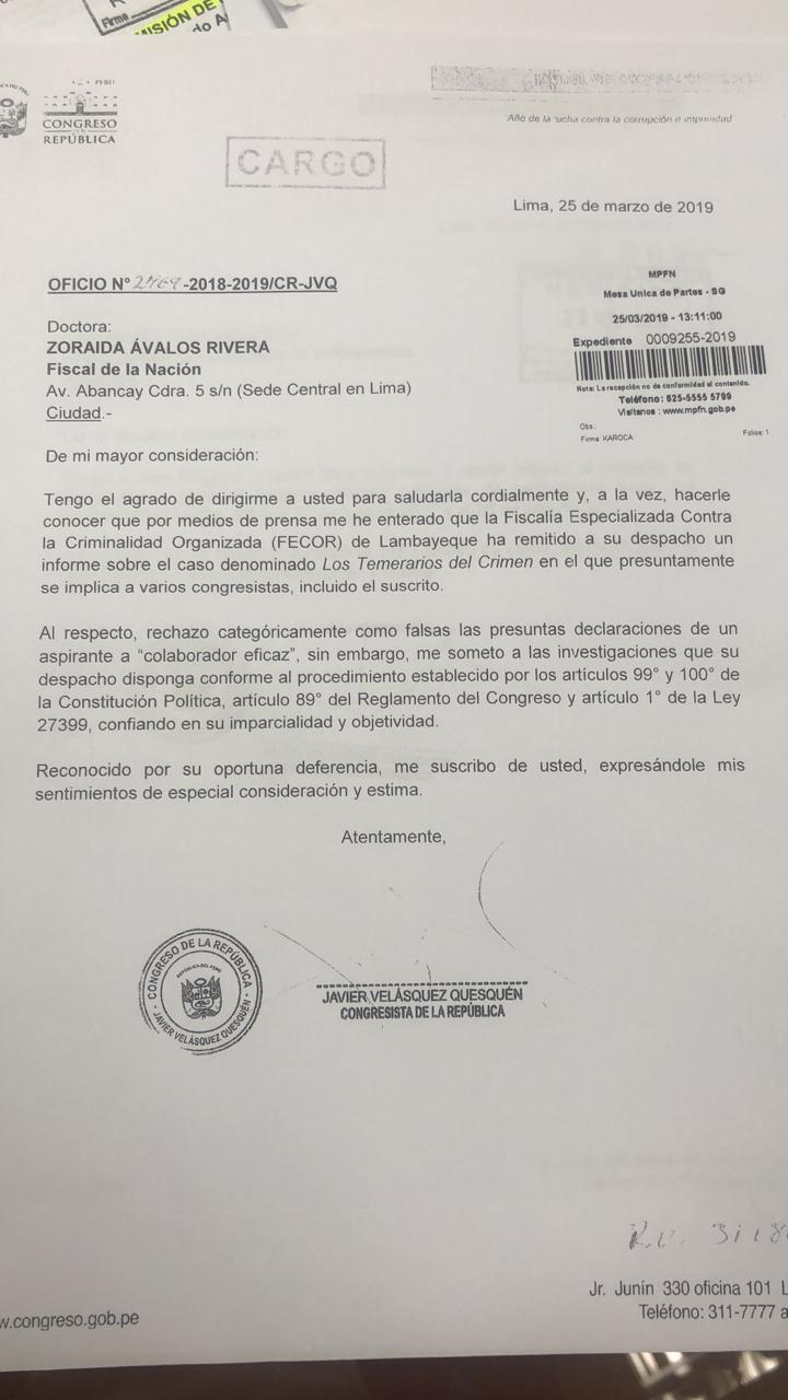 Oficio de Javier Velásquez Quesquén a la fiscal de la Nación.