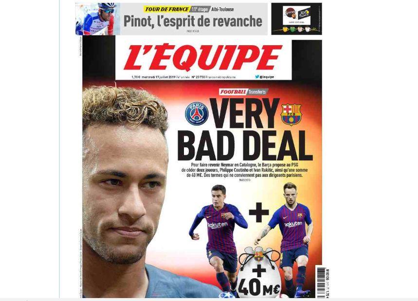 El caso Neymar es mencionado en la portada del diario francés. (Foto: L'Equipe)