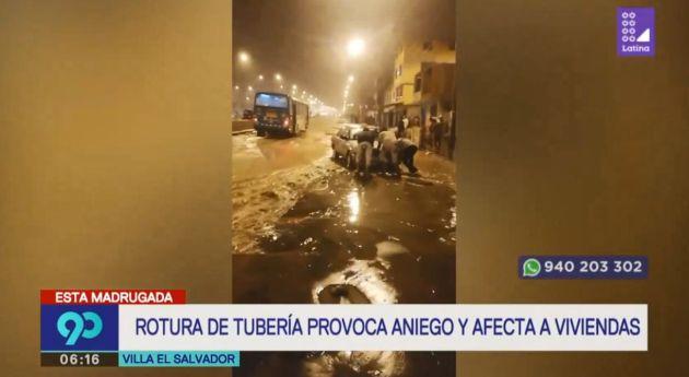 Villa El Salvador: rotura de tubería en las avenidas María Reiche y Separadora Industrial afectó a vecinos