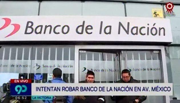 Delincuentes intentaron robar Banco de la Nación en La Victoria