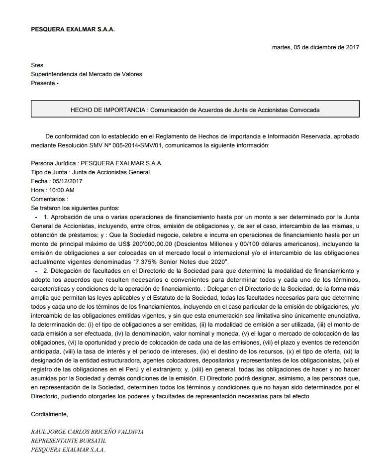 Hecho de Importancia - Pesquera Exalmar