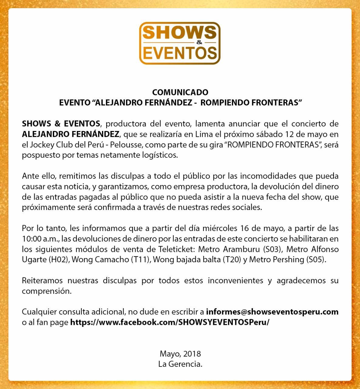 Este es el comunicado oficial de la empresa realizadora del show. (Créditos: Shows & Eventos)