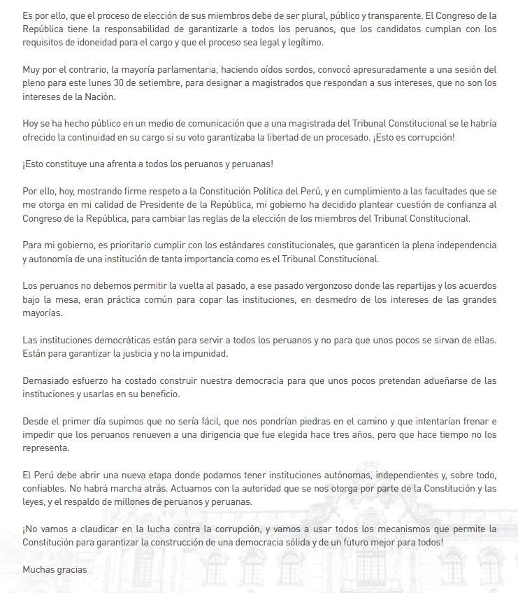 Parte final del mensaje a la nación del presidente Martín Vizcarra