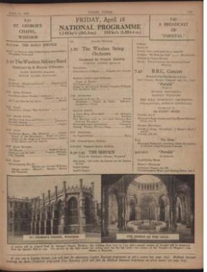El programa oficial de transmisión de la BBC para aquel 18 de abril de 1930. (BBC)