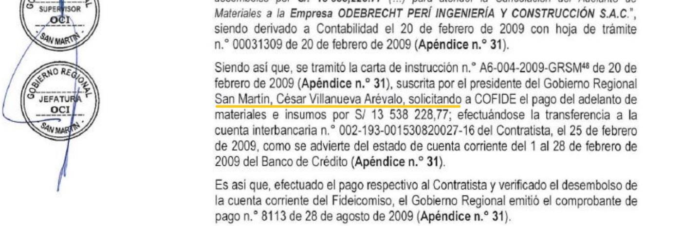 Este fue el segundo pago que tramitó César Villanueva para Odebrecht.