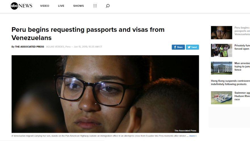 Así informa el mundo sobre la medida de visa para ingreso de venezolanos a Perú | FOTOS