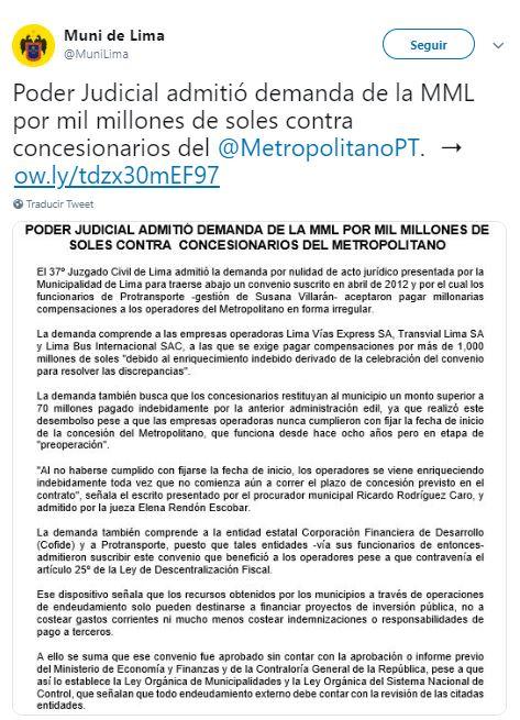 Así hizo el anuncio la Municipalidad de Lima. (Foto: Difusión)