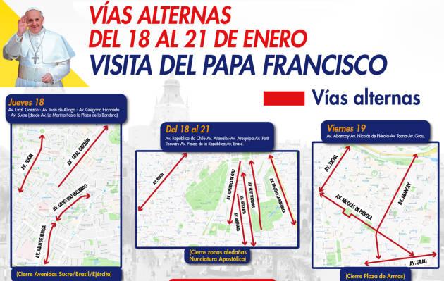 Papa Francisco: estos son las vías alternas ante cierre de calles en Lima
