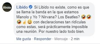 Así respondió Libido a lo dicho por Toño Jáuregui. (Foto: Captura Facebook)