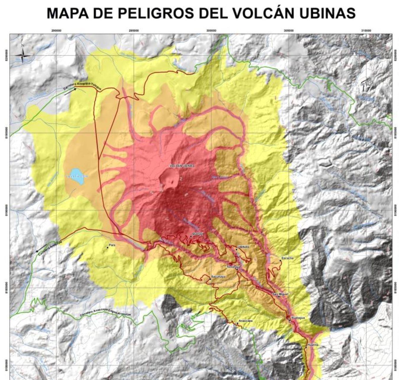 Mapa del Volcán Ubinas. (Ingemmet)