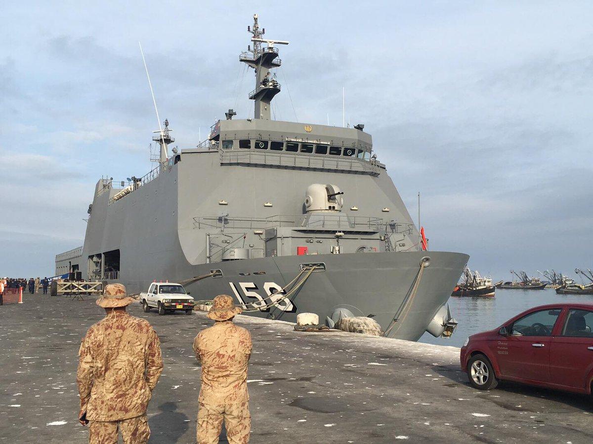 Ilo: BAP Pisco llegó con 500 toneladas de ayuda que irán a zonas afectadas por huaicos