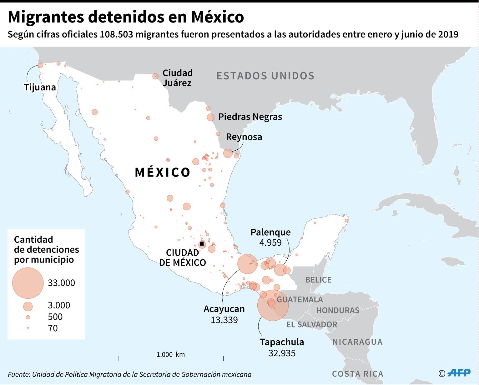 Mapa con los municipios de Mëxico en donde fueron detenidos los migrantes. Total entre enero y junio 2019, según datos oficiales de México. (AFP)