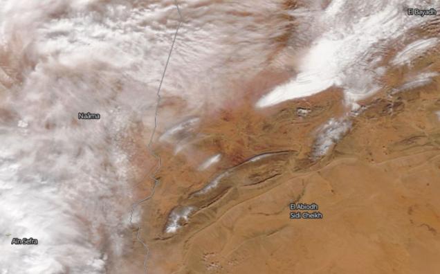 Imagen de satélite que muestra nubosidad al este de Ain Sefra el día 7 de enero. Foto: NASA Worldview