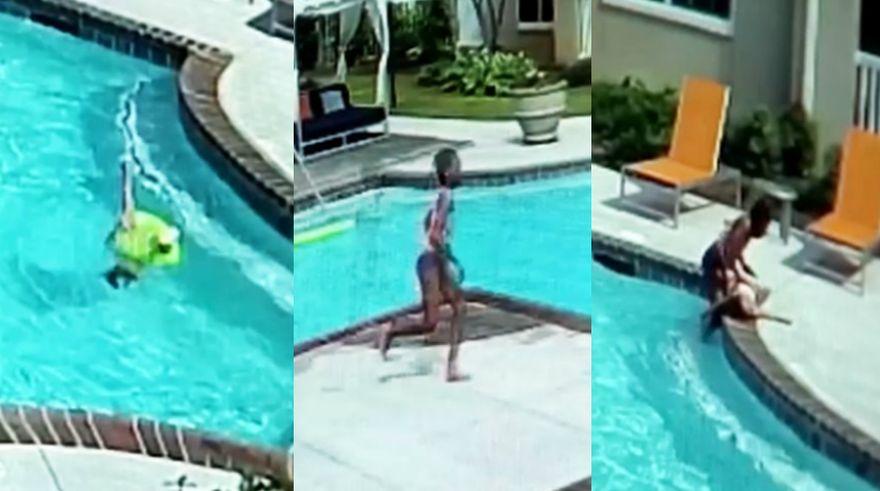 En un arrebato de adrenalina, niña salva a hermana menor de morir ahogada en piscina