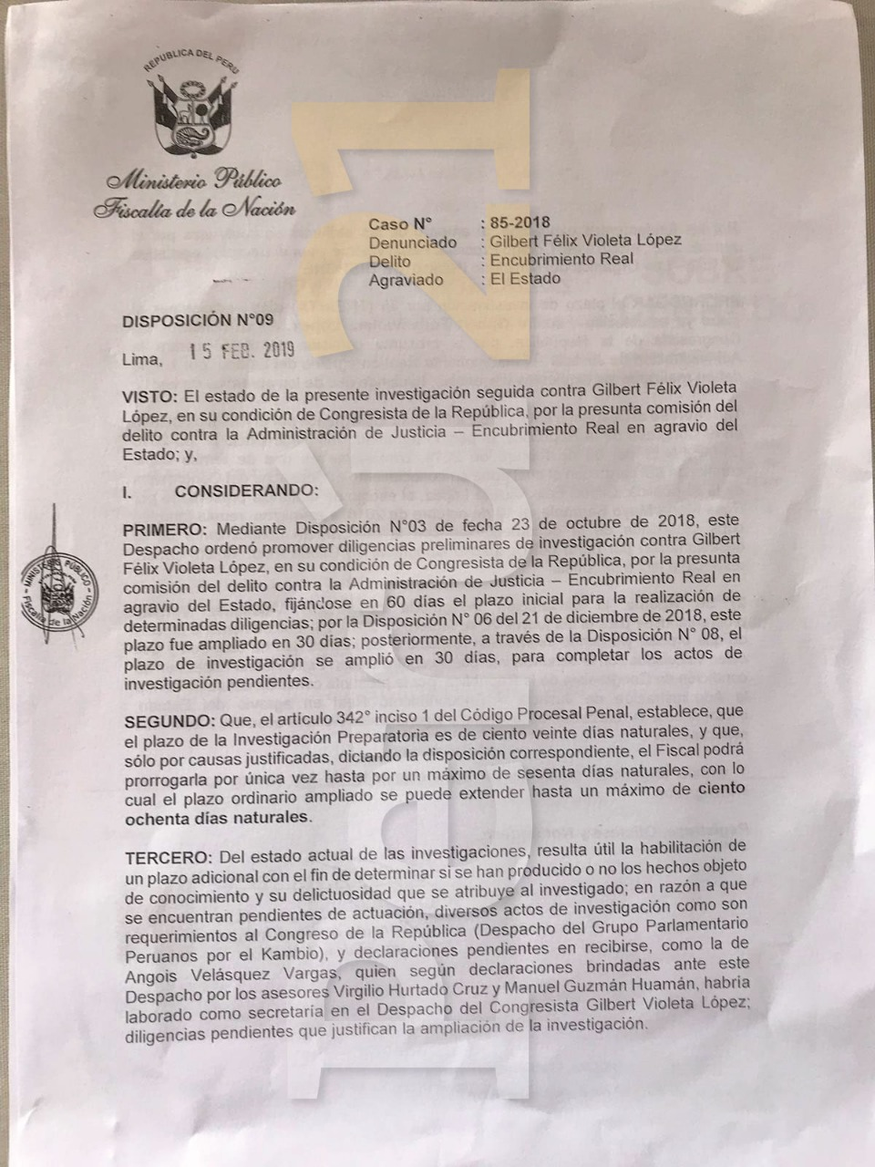 Documento de ampliación de investigación a Gilbert Violeta,
