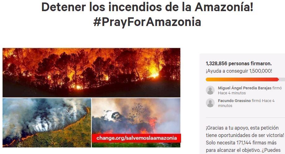 Esta petición en Change.org por los incendios en el Amazonas está cerca de llegar al millón y medio de firmas. (Foto: Captura)