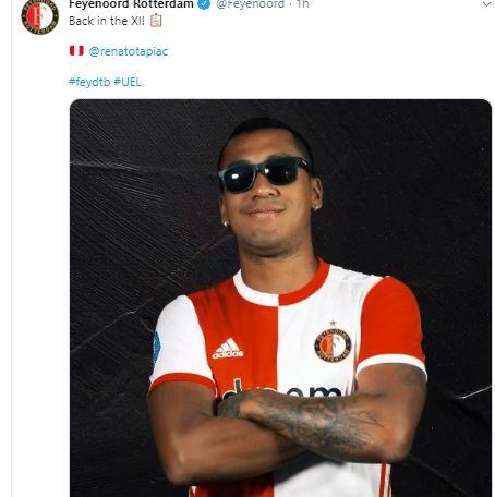 Renato Tapia es titular en duelo de Feyenoord en Europa League.