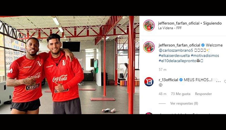 Jefferson Farfán feliz por el regreso de Carlos Zambrano a la Selección Peruana. (Foto: Instagram jefferson_farfan_oficial)