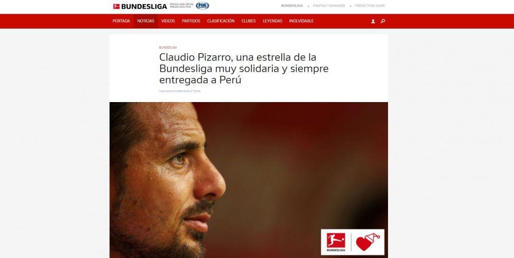 Bundesliga destaca a Claudio Pizarro