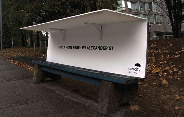 Vancouver: bancas públicas de refugio para indigentes