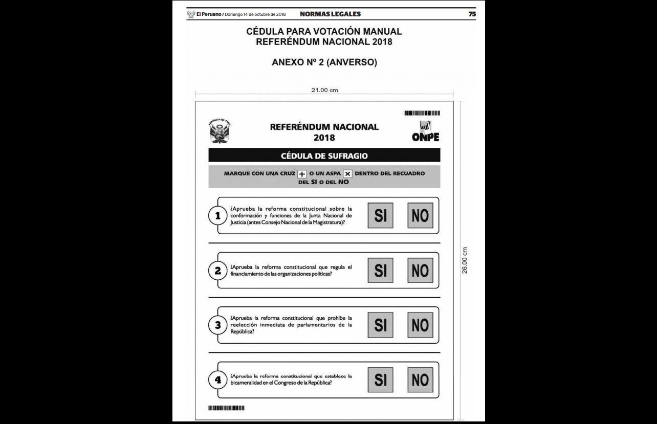 Esta es la cédula manual para el Referéndum 2018 que se llevará a cabo el 9 de diciembre. (El Peruano)