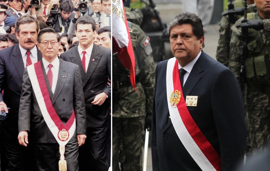 Antes del segundo mandato de Alan García, los presidentes Alberto Fujimori y Alejandro Toledo utilizaron bandas presidenciales que llevaban el escudo a la altura del muslo. García decidió cambiar la ubicación a la altura del pecho. (Foto: GEC)