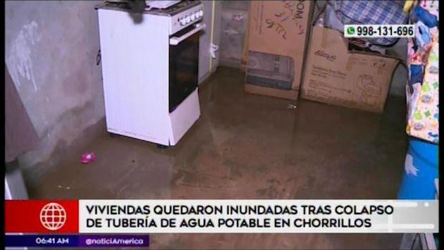 Chorrillos: Sedapal controló aniego de agua potable que afectó varias viviendas