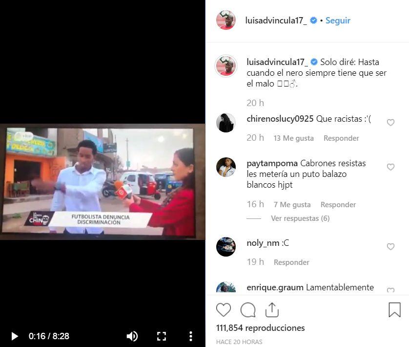Luis Advíncula se suma a la ola de rechazo por el racismo que sufrió jugador del Sport Boys. (Instagram)