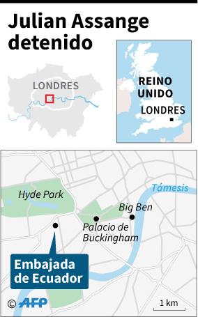 Localización de la embajada de Ecuador en Londres, donde fue detenido el fundador de WikiLeaks Julian Assange. (Foto: AFP)