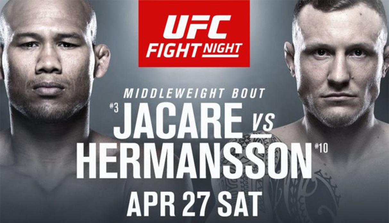 Ronaldo Jacare Souza vs. Jack Hermansson EN VIVO por UFC Fight Night desde Sunrise por Fox Sports 2