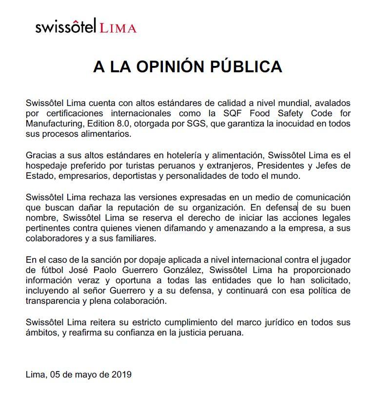 Comunicado del Swissotel