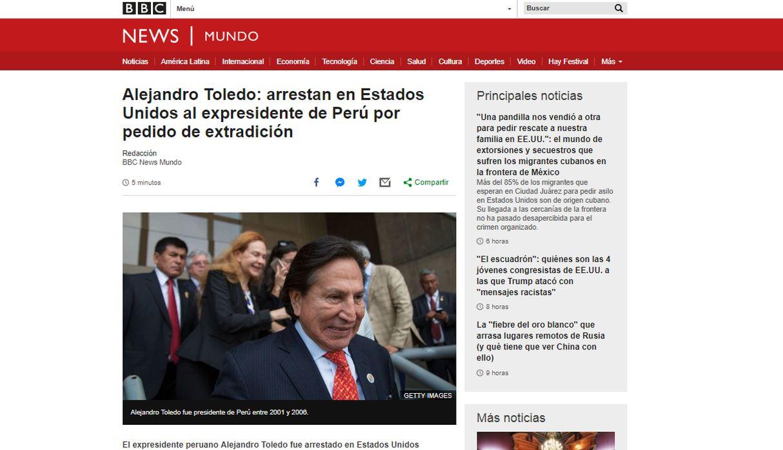Así informa la prensa internacional el arresto de Alejandro Toledo en EE.UU.